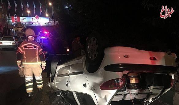 واژگونی خودرو سواری در بزرگراه امام علی (ع)